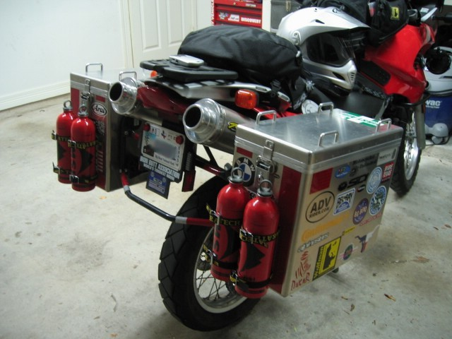Gas Cans Mounted In From Of Pannier